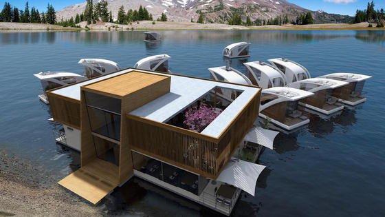 Illustration des schwimmenden Hotels: Umgebaute Katamarane sollen zu schwimmenden Hotelzimmern werden.
