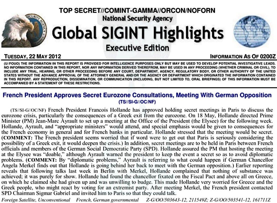 Wikileaks hat einige Dokumente der NSA ins Netz gestellt, die das Abhören der französischen Präsidenten dokumentieren. Im Bild ein Dokument, dass die Kontakte vonFrançois Hollande mit der deutschen Opposition belegen.
