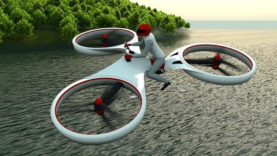 So soll das Flike einmal aussehen: Das Motorrad für die Luft wird von sechs Rotoren angetrieben.
