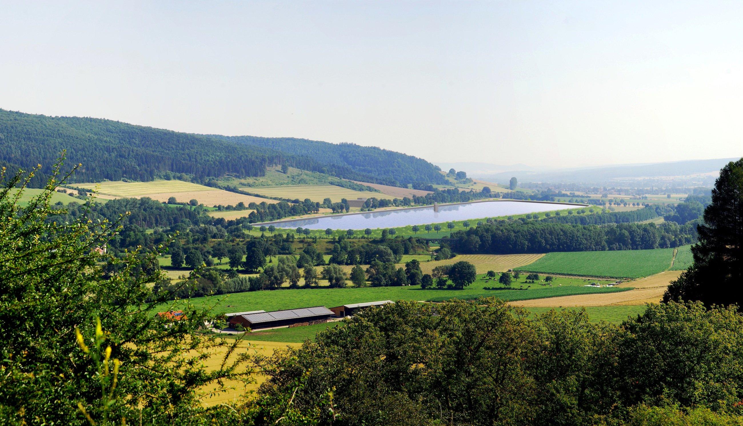 Simulation des Obersees für das Pumpspeicherkraftwerk Nethe in NRW:Ab Ende 2020 soll das 390-MW-Kraftwerk Nethe in der Nähe der westfälischen Stadt Höxter den ersten Strom liefern.