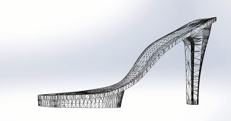 Entwicklung des Stöckelschuhs am Computer: Die neue Einlage ist an wichtigen Stellen hart wie Stahl, hat aber nur das halbe Gewicht.