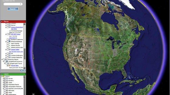 Eröffnungsansicht des Programms Google Earth: Bei dpa hieß es dazu: Seit wenigen Wochen sorgt die kleine Software im Internet für Schlagzeilen und Begeisterung der Nutzer. Vom Schreibtisch aus gewährt sie atemberaubende Blicke in die entlegensten Orte der Welt. Der ganze Planet Erde liegt mit ihr buchstäblich in den (Maus)-Händen des Betrachters. Rasante Fahrten über die Kontinente hinweg oder das Abtauchen in die Straßenschluchten einer Großstadt lassen derzeit auch hier zu Lande die Herzen der Internet-Nutzer höher schlagen.