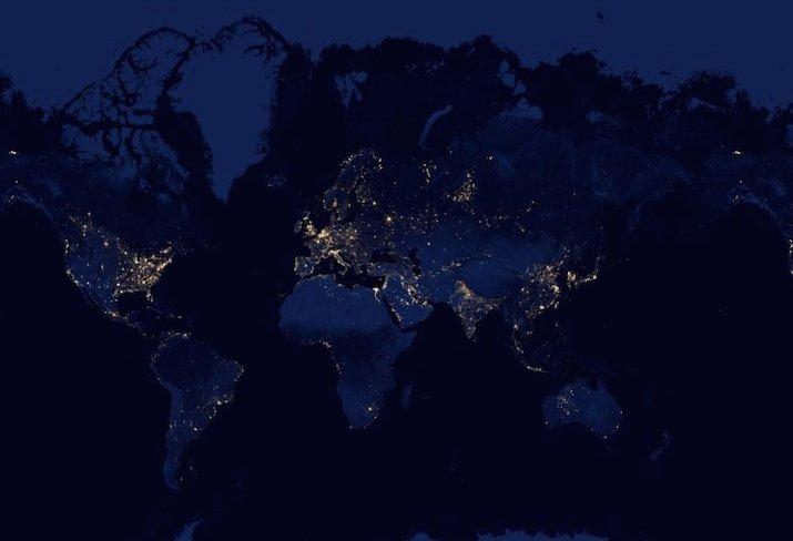 Die Erde bei Nacht. Ausschnitt einer Google-Earth-Aufnahme.