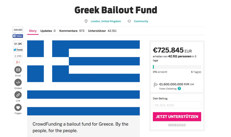 Kampagne Greek Bailout Fund auf Indiegogo: Noch zeigt der Statusbalken 0 %. Es bleiben sechs Tage.
