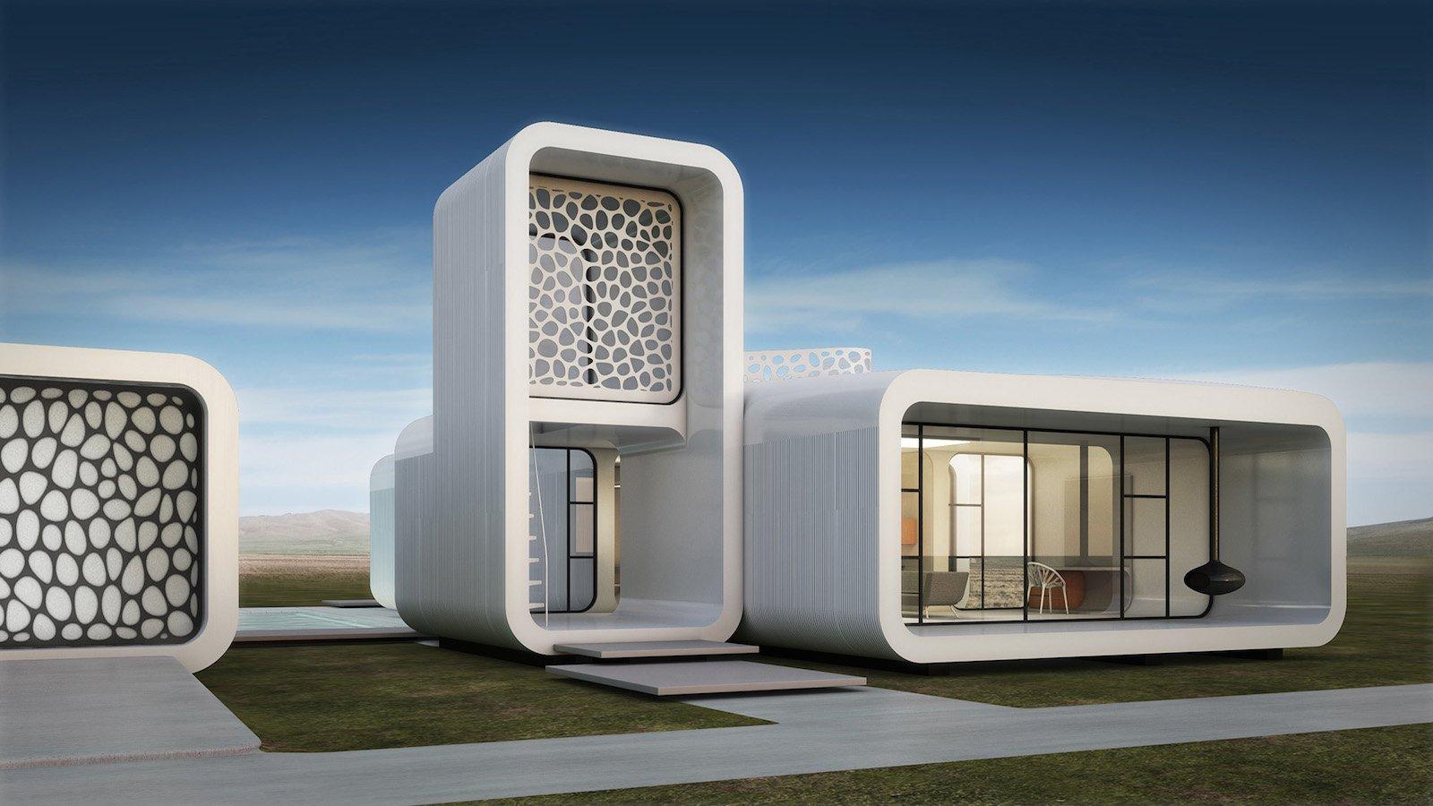 Das Design des gedruckten Bürogebäudes soll den Forschungsstand über die Anforderungen der Arbeitswelt von Morgen entsprechen.