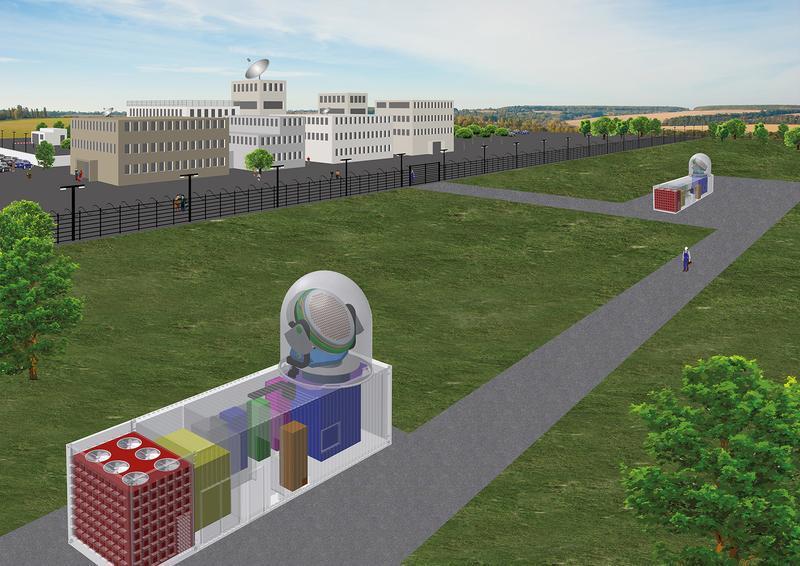 Sowohl die Sende- als auch die Empfangsantenne des im Bau befindlichen mobilen Radars lassen sich vollständig einfahren.