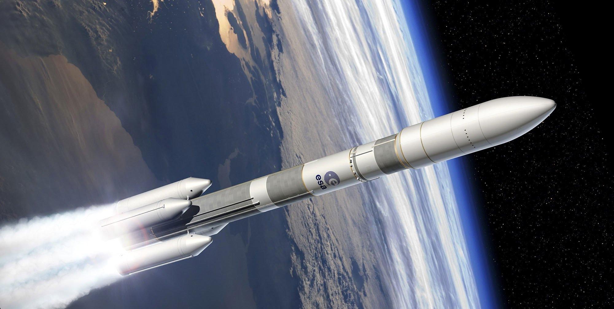 Modell einer Ariane 6 im Orbit: Airbus prüft Konzepte, die Raketenspitze dauerhaft in einer Erdumlaufbahn zu parken. Von dort aus soll diese dann Satelliten in die richtige Position bringen.