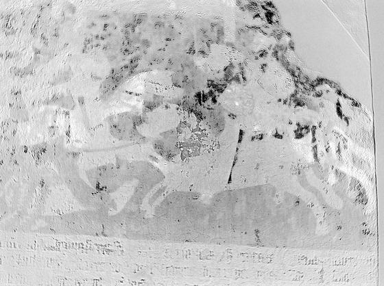 Motiv im oberen Kreuzgang des Brandenburger Doms: Mit einer Hyperspektralkamera und einer neuen Software konnten Fraunhofer Forscher als verschollen geltende Details einerWandmalerei mit Pferden wieder sichtbar machen.