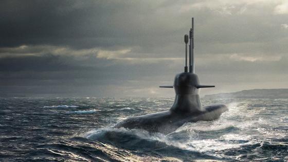 Illustration des Kockum A26: Die Oberfläche des U-Boots absorbiert Sonarschall und Radarwellen. Feinde können es nur schwer orten.