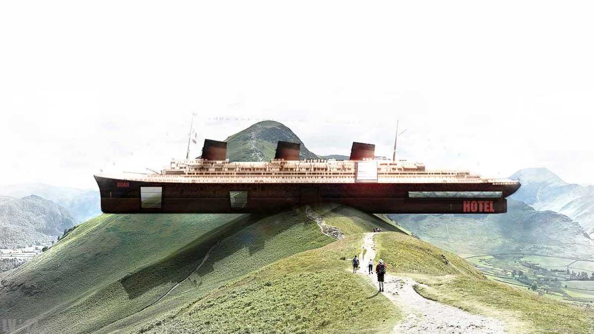 Die griechischen ArchitektenLaertis Antonios Ando Vassiliou und Pantelis Kampouropoulos vom Architekturbüro OPA haben viele ungewöhnliche Idee, beispielsweise wollen sie einen Dampfer als Hotel auf einen Berg setzen.