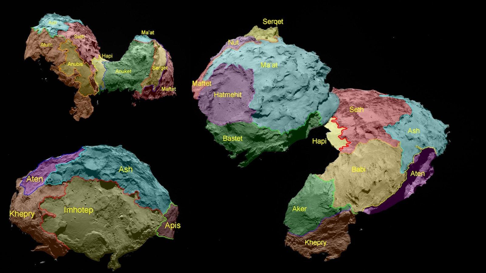 Die Wissenschaftler des Osiris-Teams unterteilten den Kometen Churuymov-Gerasimenko (Tschuri) in 19 unterschiedliche Regionen. Osiris ist das Kamerasystem der europäischen Raumsonde Rosetta.
