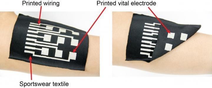 Intelligente Kleidung: Die neue Tinte eignet sich für den Einsatz in Sporttextilien. Durch den beidseitigen Aufdruck von Elektronik misst die Manschette die Muskelaktivität des Sportlers auf der Haut.