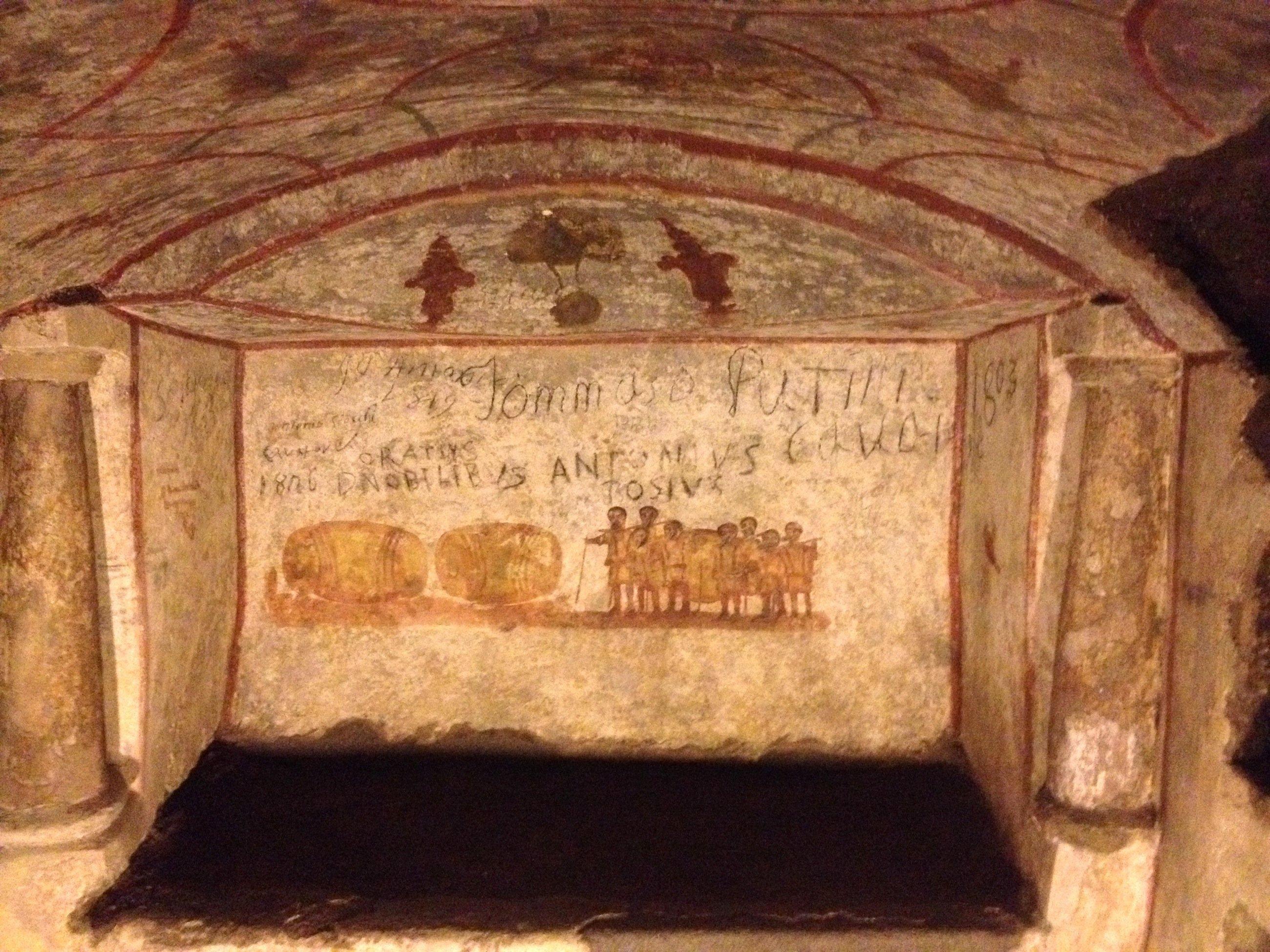 Herrliche Wandmalerien der frühen Christen dokumentiert der Bonner Roboter Rovina in den Katakomben von Rom.