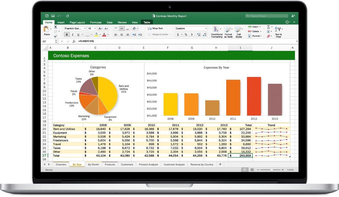 Das neue Office für Mac ist deutlich bunter geworden. Im Bild die Darstellung von Excel.