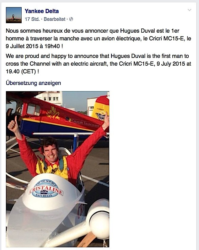 Der Fliegerclub Yankee Delta aus Frankreich meldet stolz auf Facebook, dass sein MitgliedHugues Duval am Donnerstag den Ärmelkanal in einem Elektroflugzeug überquert hat.