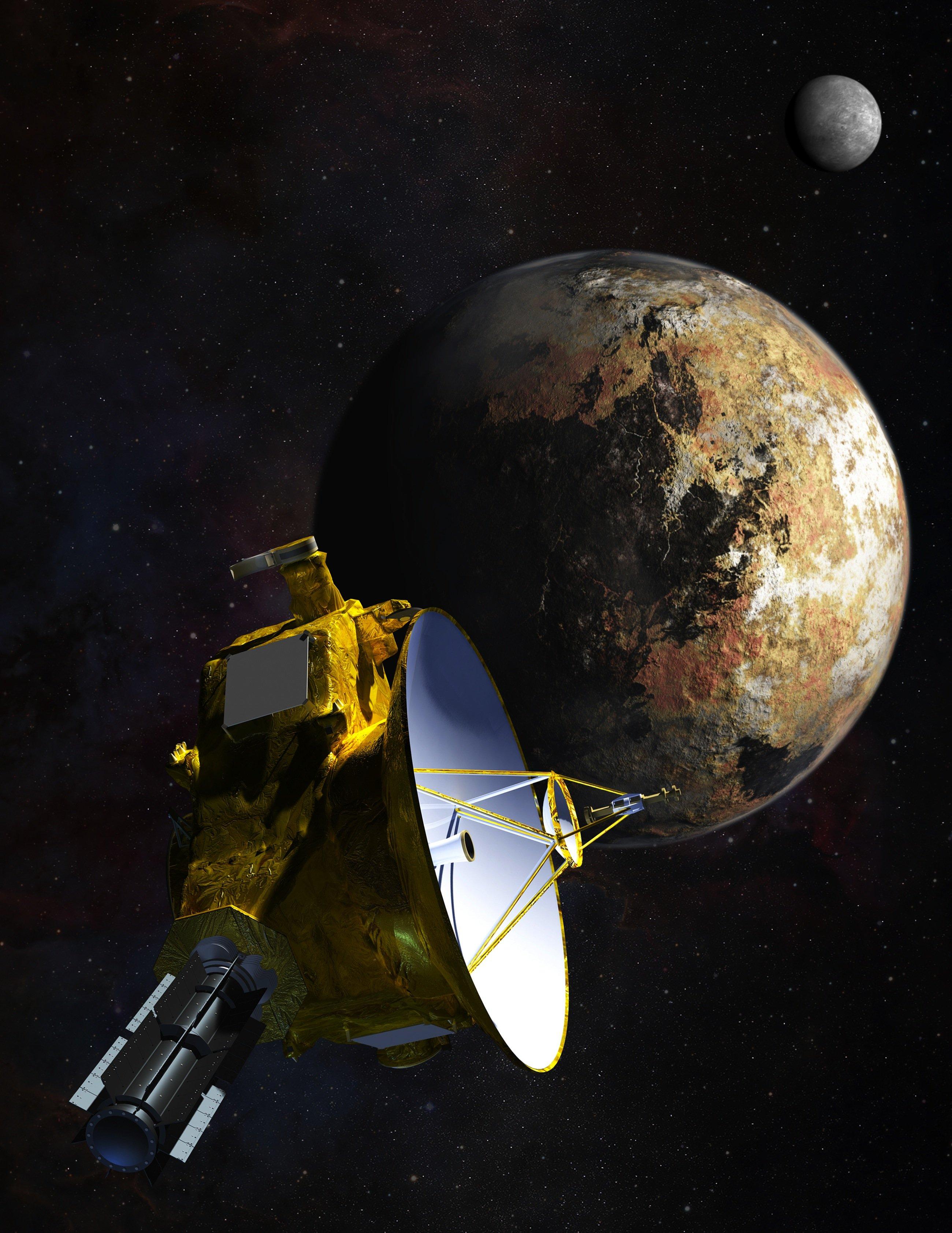 Ungefähr so wie in dieser Darstellung wird es aussehen, wenn sich die amerikanische Sonde New Horizons dem Pluto und dem größten seiner Monde Charon nähert.