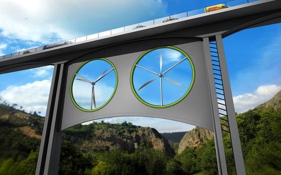 Das spanisch-britische Forscherteam hat am Beispiel eines Viaduktes auf den Kanarischen Inseln berechnet, welche Rotoren unter einer Brücke am effizientesten arbeiten. Die Forscher bevorzugen eine Konstruktion mit zwei Rotoren.