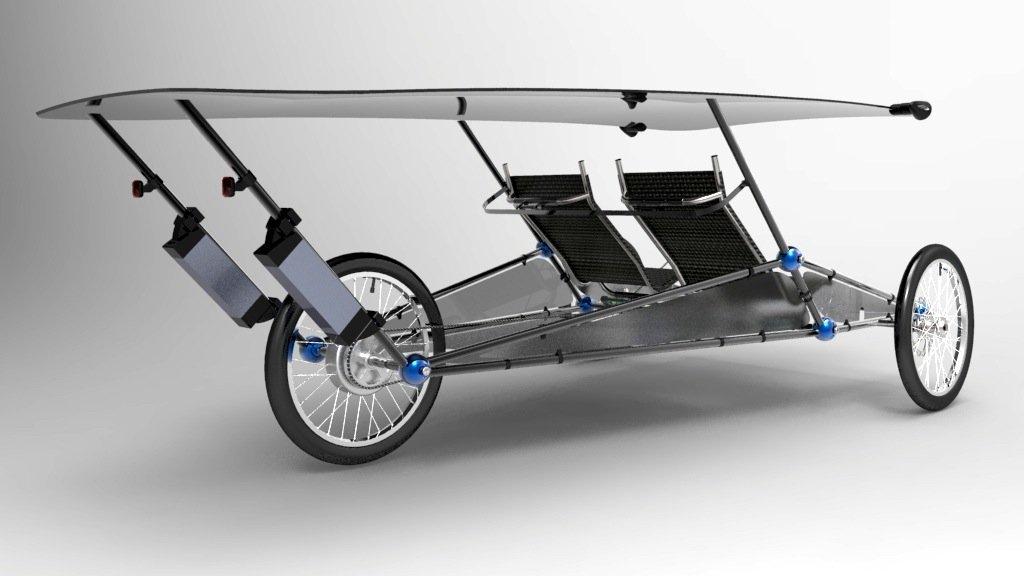 Zwei Bierkisten kann das Solarmobil hinter den Sitzen transportieren. Damit könnte es in der Stadt tatsächlich eine Alternative zum Lastenfahrrad werden. Das Solarmobil rollt, sobald die Sonne scheint.