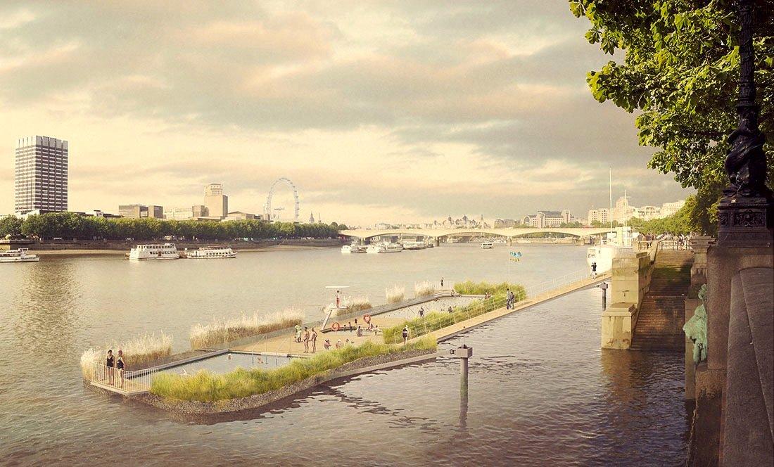 Die Londoner wünschen sich ein Schwimmbad mitten in der Themse. Allerdings muss dazu die Wasserqualität erst wieder steigen. Derzeit ist die Themse braun und stinkt. Die Kanalisation ist zu klein für die riesige Stadt.