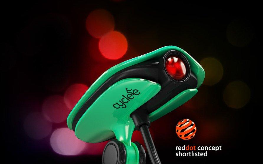 Der Laserprojektor Cyclee wird mit einem Arm am Sattel oder am Gepäckträger montiert und drahtlos mit einem Smartphone verbunden, über das die Verkehrssignale gesteuert werden. Das Gerät wurde schon für den renommierten Red Dot Award aus Essen gelistet.