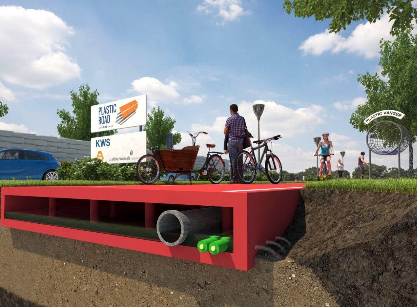 Die Straßen aus Kunststoff werden aus Modulen gefertigt und bieten im Untergrund reichlich Platz für Kabel und Kanäle.