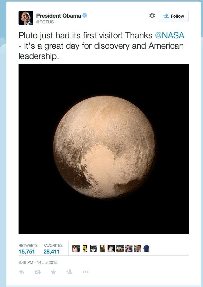 Gratulation von US-Präsident Barack Obama auf Twitter zur gelungenen Pluto-Mission New Horizons der Nasa.