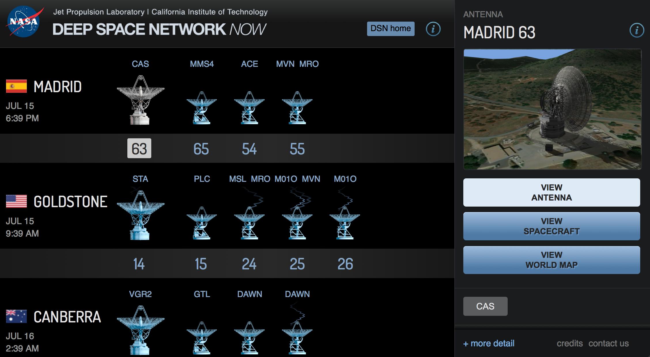 Mittwoch, 18:43 Uhr: Die Nasa ist clever, um die Wartezeit auf die ersten hoch auflösenden Bilder der Sonde New Horizons vom Pluto zu verkürzen. Sie überträgt live und animiert, welche Radarantennen weltweit gerade Signale empfangen.