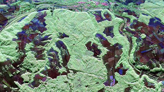 Polarimetrische Radaraufnahme des Waldgebietes Traunstein: Waldgebiete erscheinen in grün, Oberflächen mit niedriger Vegetation in blau/rot.
