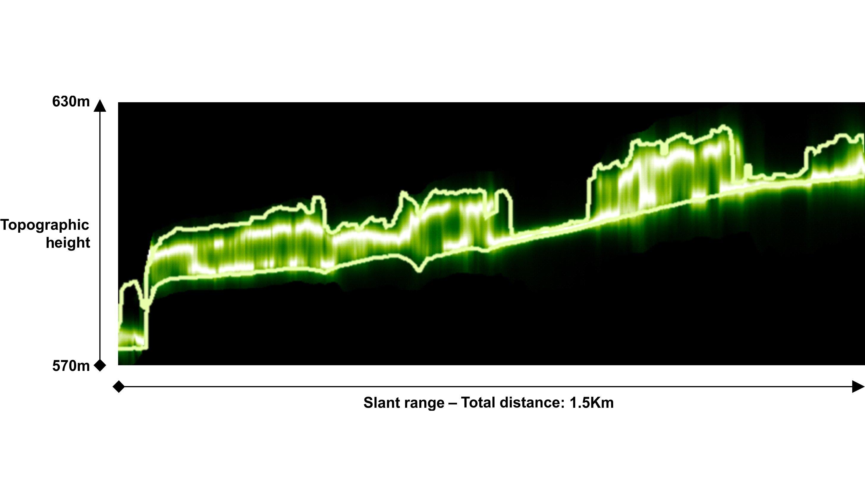 Testgebiet Traunstein: Beispiel für ein vertikales Profil der Radarrückstreuung dieses Waldgebiets. Die Rückstreuung ist in Grüntönen skaliert, von dunkelgrün (geringe Rückstreuung) bis weiß (hohe Rückstreuung). Die durchgezogenen Linien stellen die Höhen von Waldboden und -krone dar, bestimmt durch Lidarmessungen.