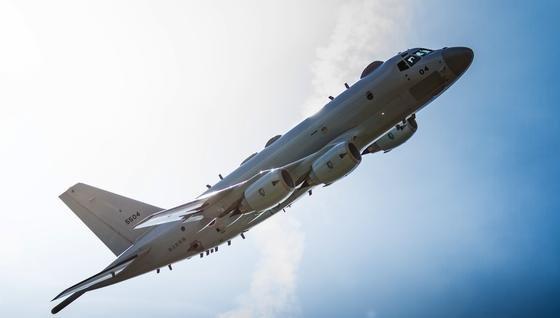 P-1 in der Luft: Das Aufklärungsflugzeug von Kawasaki Industries erreicht eine Höchstgeschwindigkeit von 830 km/h und eine Reicheweite von 8000 km.