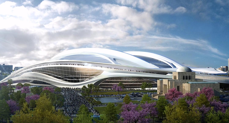 So futuristisch hätte das neue Olympiastadion in Tokio aussehen können. Mit 1,9 Milliarden Euro sprengte es jedoch den Budgetrahmen der japanischen Regierung.