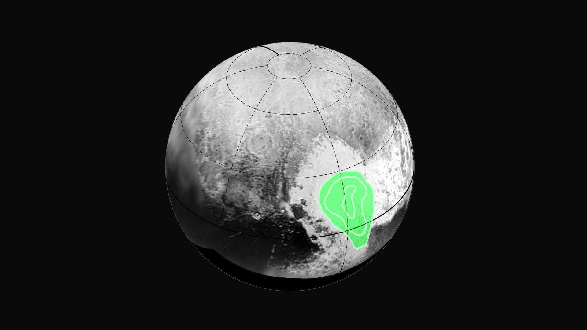 """New Horizons hat gefrorenes Kohlenmonoxid im Herzen von Plutos """"Herz"""" fotografiert. Der Zwergplanet ist geologisch äußerst aktiv."""