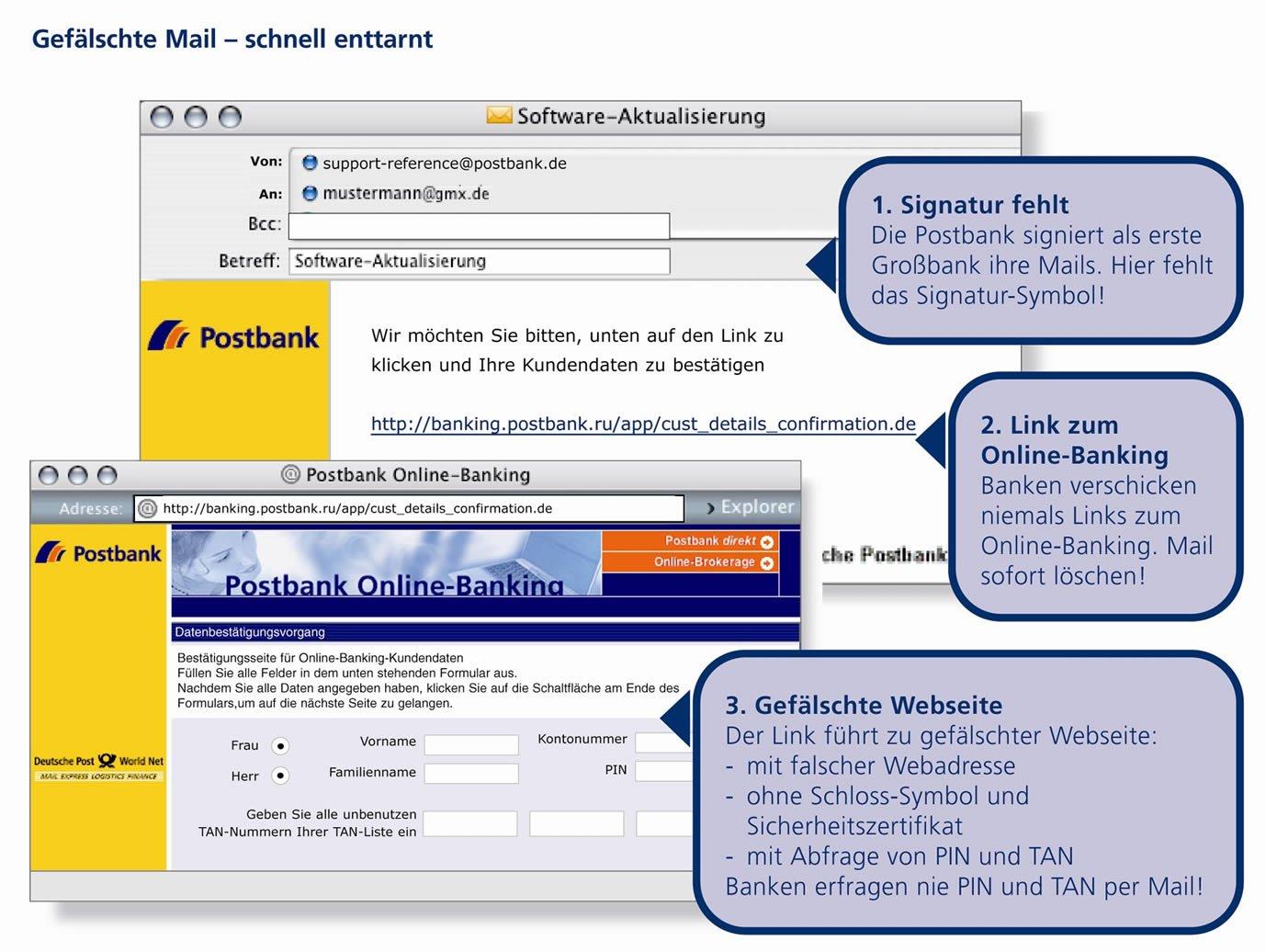 Gefälschte Mail der Postbank: Wer hier klickt, verrät Betrügern seine Bankdaten.