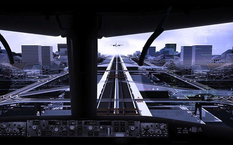 Anflug auf den Stelzen-Flughafen aus Cockpit-Perspektive.
