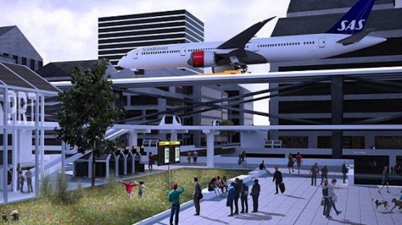 Könnten sich Bürger an diesen Anblick gewöhnen? Ein Flugzeug rollt mitten durch das Stadtzentrum in Stockholm.