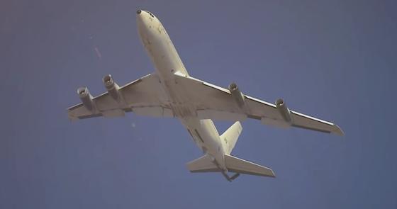 Passagiermaschine mit Raketenabwehrsystem: Thermische Kamera und Laserkanone sind im Heck der Maschine installiert. Sie wehren im Ernstfall Lenkwaffen ab.
