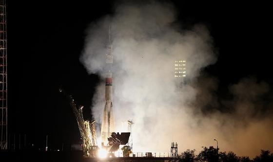 Start der Sojus-Rakete in Baikonur im südlichen Kasachstan: Sechs Stunden später erreichte die Raumkapsel die ISS.
