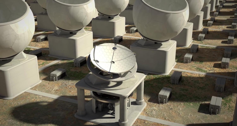 Matrix aus Mikrowellen-Antennen: Sie erhalten Energie von einem riesigen Akku. Strom soll zukünftig auch aus erneuerbaren Energiequellen stammen.