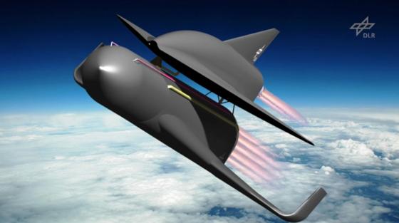 Space-Liner-Konzept: Das Hyperschall-Transportsystem soll mit Passagieren interkontinentale Distanzen mit 20facher Schallgeschwindigkeit zurücklegen können. Die Strecke von Europa nach Australien könnte in nur 90 min bewältigt werden. Der Space-Liner besteht aus einem Orbiter mit Passagierkabine und einer Booster-Stufe, die nach der Schubphase abgetrennt wird.
