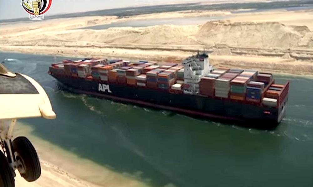 Am Samstag passierte das erste Containerschiff den neuen Suezkanal. Die Eröffnung ist für den 6. August geplant.