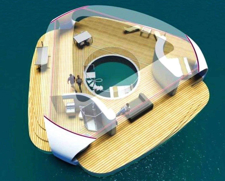 Seascape aus Vogelperspektive: In der Mitte befindet sich ein Schlafzimmer – in einem 4 m langen Plexiglaszylinder, mitten im Wasser.