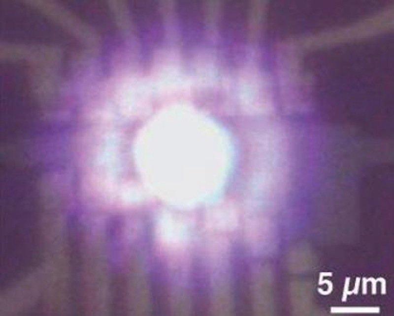 Mit bloßem Auge lässt sich das helle Licht auf der Gitterstruktur aus Graphen erkennen.