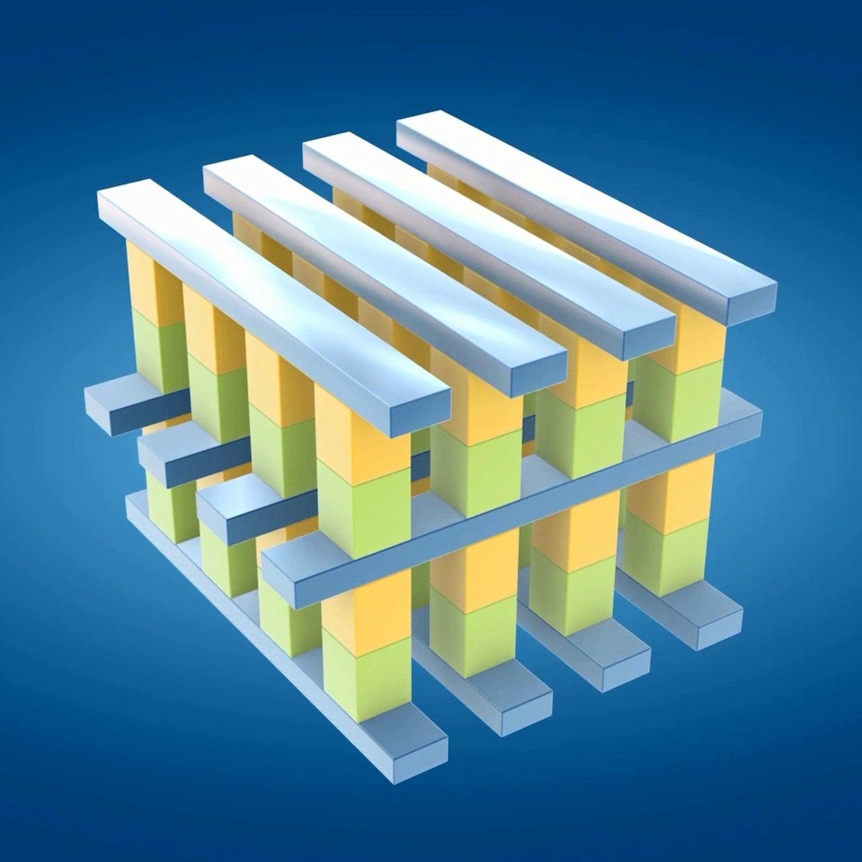 Dreidimensionaler Aufbau des Datenspeichers. Die digitalen Informationseinheiten 1 und 0 befinden sich auf den Kreuzungspunkten eines feinen Gitters.