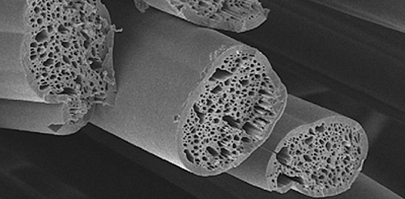 Fasern unter dem Elektronenmikroskop: Die winzigen Hohlräume schützen vor Wärmeverlust.