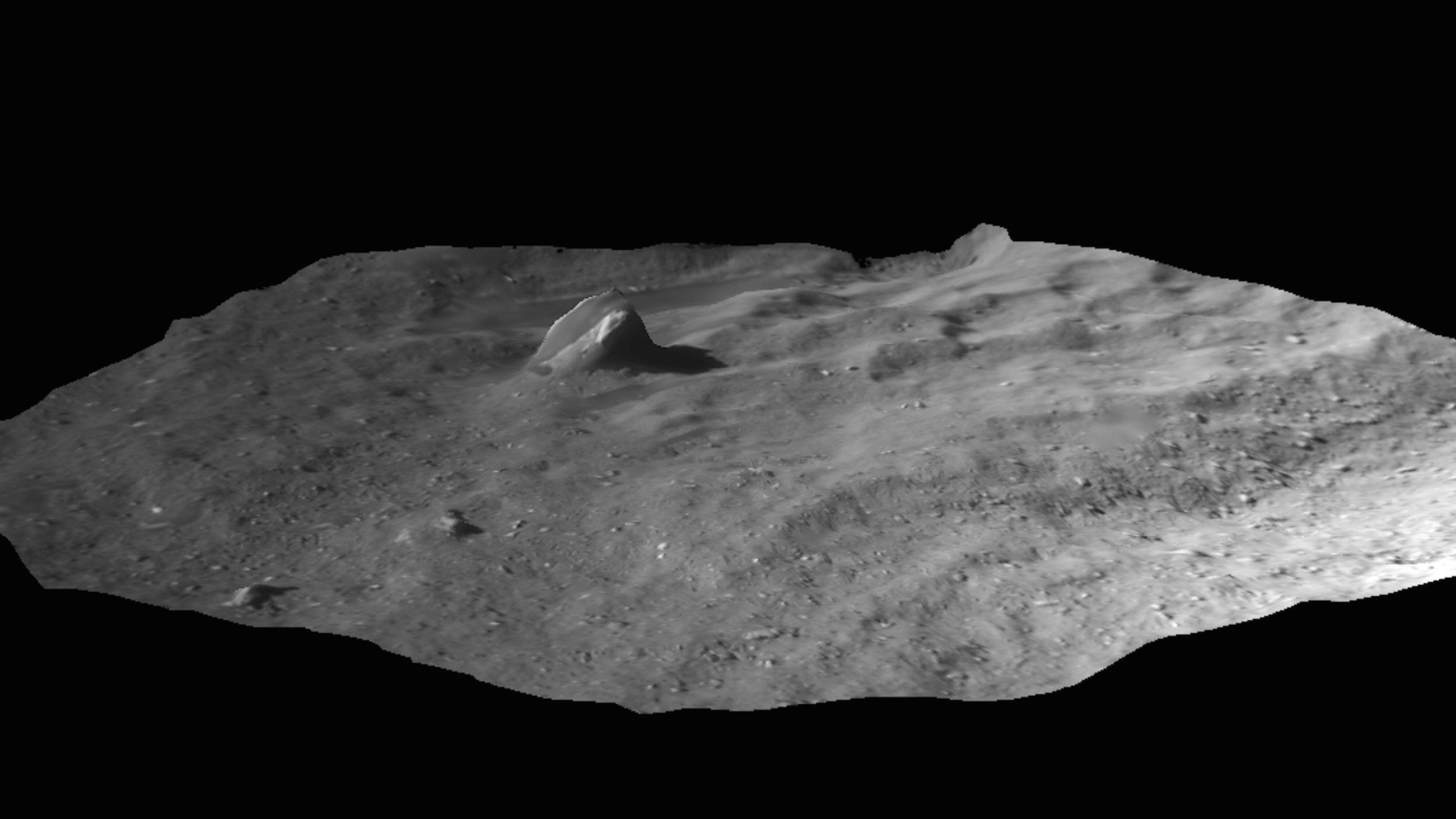 Perspektivische Ansicht der Landestelle Agilkia: Philae ist dort mehrfach von der Oberfläche abgeprallt und weitergeflogen.
