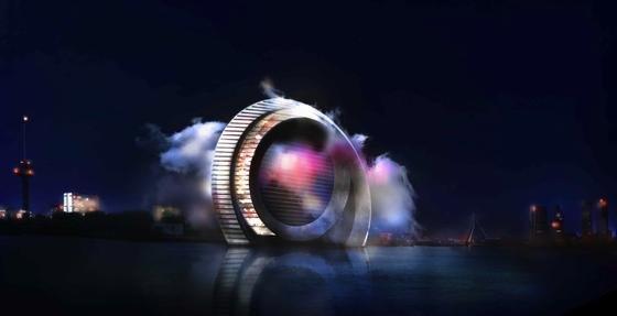 Nachts erinnert das bewohnbare 174 Meter hohe Windrad an ein Auge.