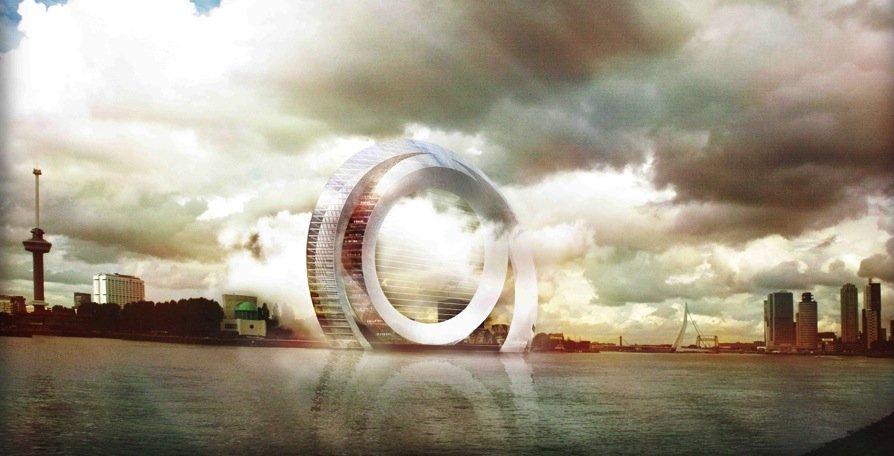 The Dutch Windwheel: Diese futuristisch anmutende Windanlage soll in Rotterdam gebaut werden. Sie soll nicht nur Energie liefern, sondern auch bewohnbar sein. Und im im äußeren Ring soll ein Riesenrad fahren.