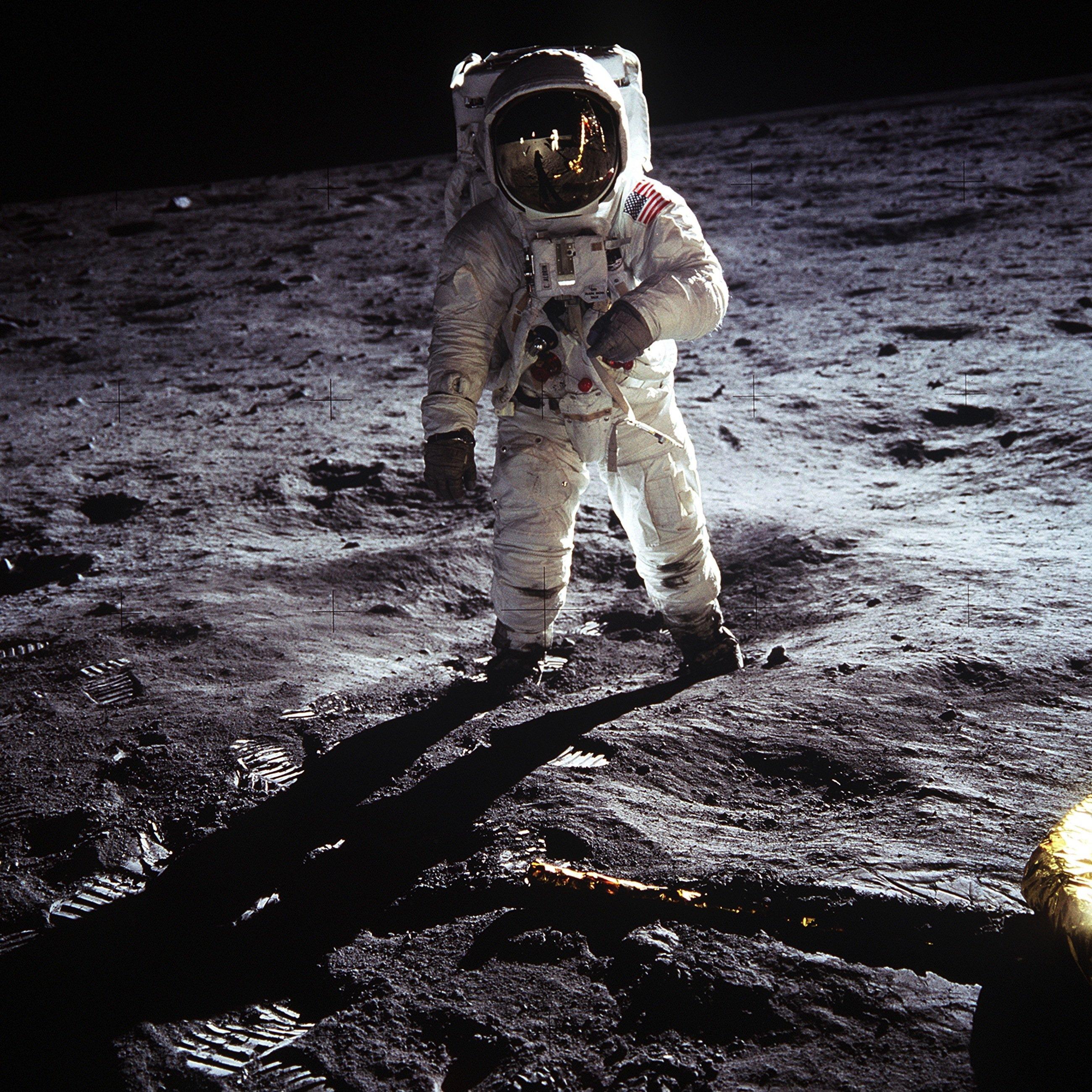 Nasa-Astronaut Edwin Buzz Aldrin im Jahr 1969 auf dem Mond, fotografiert von seinem Kollegen Neil Armstrong, der als erster den Trabanten betreten hatte.