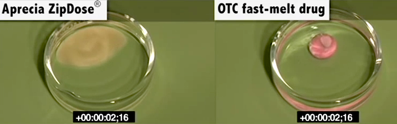 Die Tablette Spritam (links) löst sich in nur 2 s auf. Bei einer herkömmlichen, schnell schmelzenden Tablette (rechts) hat sich in dieser Zeit nicht viel getan.