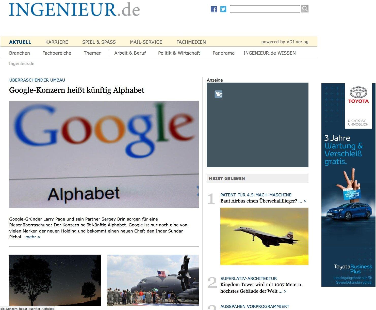 Screenshot der Seite Ingenieur.de: Werbung wird nur dezent auf Ingenieur.de eingesetzt. Adblocker, die Werbung unterdrücken, schaden der Refinanzierung solch hochwertiger Webseiten wie Ingenieur.de.